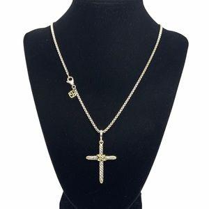 "David Yurman Cable Cross Pendant Necklace 21"""